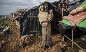 Rohingya family in refugee camp