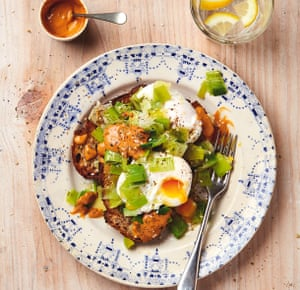 Thomasina Miers' poached eggs with melted leeks and chipotle-tahini dressing.
