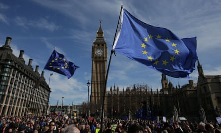 Anti-Brexit march outside the Houses of Parliament, London.