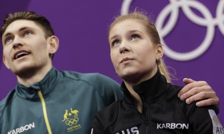 Ekaterina Alexandrovskaya with Harley Windsor at the 2018 Winter Olympics