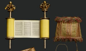 Miniature Torah Scroll With Gold Woven Mantle.