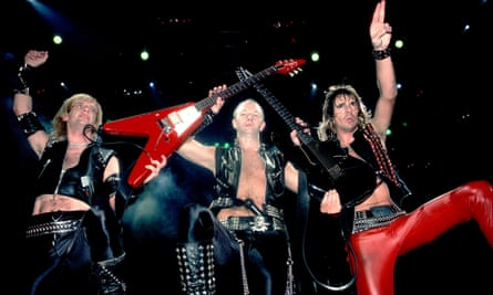 Judas Priest in 1983 … from left, KK Downing, Rob Halford and Glenn Tipton.