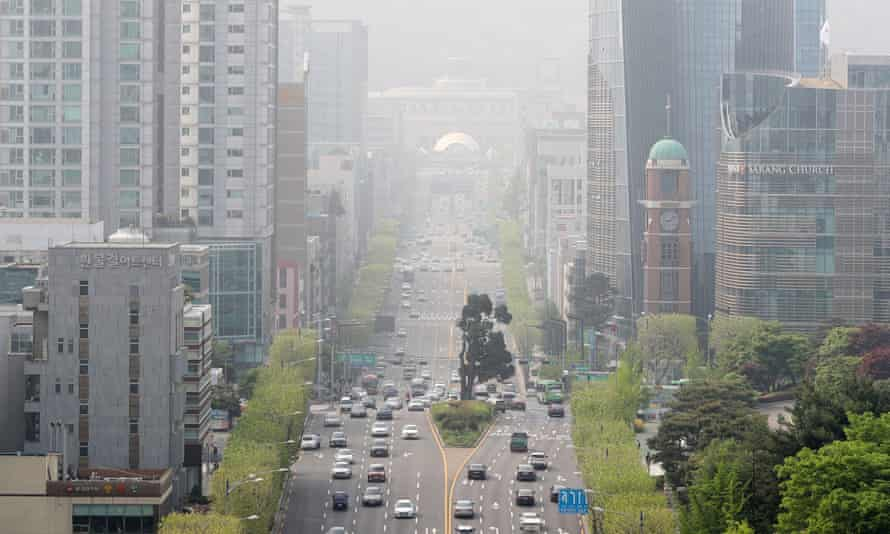 Downtown Seoul area is shrouded in haze in this picture taken in May, 2018