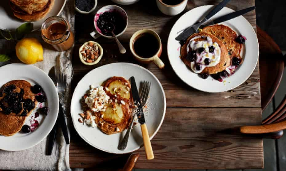 Not just for Shrove Tuesday: just-sweet, fluffy American-style pancakes topped with fruit.