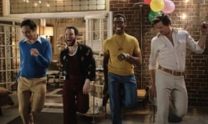 Jim Parsons, Robin De Jesus, Michael Benjamin Washington and Andrew Rannells in The Boys in the Band.