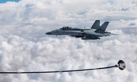 A RAAF Hornet refuels over the Middle East.