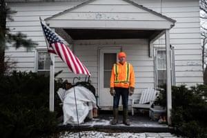 Neil Shaffer on his front porch in Cresco, Iowa.