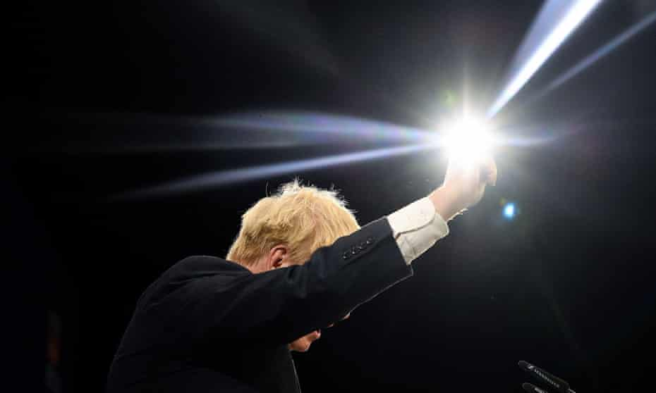 boris johnson making his tory party conference speech