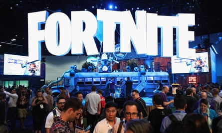 Epic Games' packed Fortnite booth at this year's E3 video game expo.