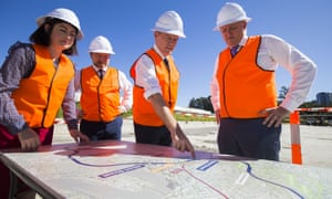 The federal Labor leader, Bill Shorten, with Terri Butler, Graham Perrett and Anthony Albanese at a site for the proposed cross-river rail in Brisbane