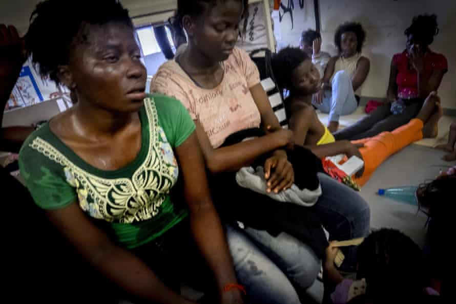 Migrants from west Africa on board a rescue vessel in the Mediterranean Sea off Libya. Sierra Leone became a hotspot for trafficking after the civil war and the Ebola outbreak.