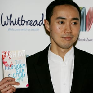 At the Whitbread awards, with his book The Harmony Silk Factory.
