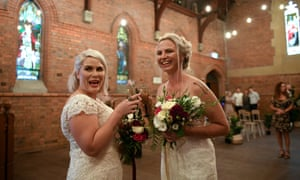 Rebecca Hickson (left) and Sarah Turnbull marry in Newcastle, NSW, on 9 January.