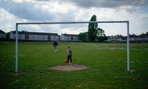 A child enjoys a kickabout in Scunthorpe.
