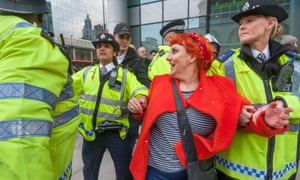 Lisa McKenzie is arrested at a protest against 'poor doors'.