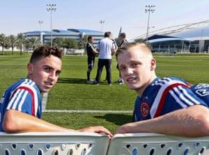 Abdelhak Nouri (left) and Donny van de Beek at the Complex Aspire Academy in Qatar during January 2015.