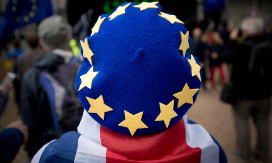 A person wears an EU beret at an anti-Brexit rally in Birmingham