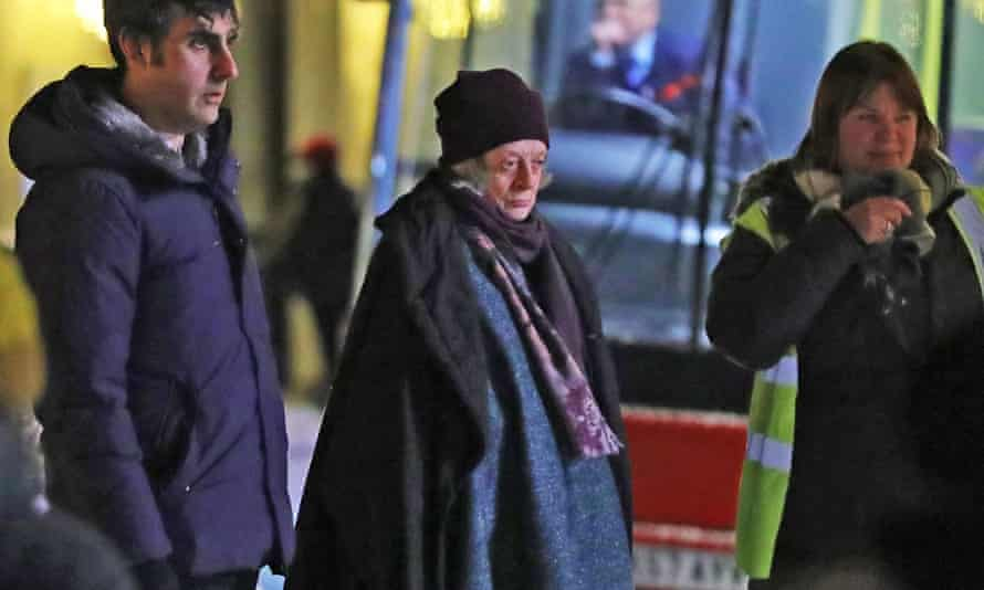 Dame Maggie Smith on set during filming of A Boy Called Christmas in London early last year.