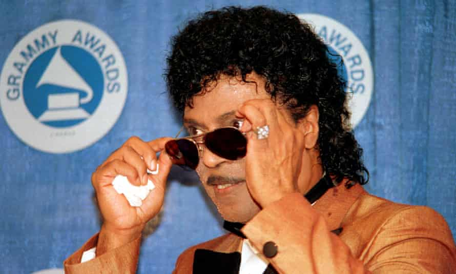 Little Richard backstage at the 1988 Grammy awards, where he protested what he perceived as the Recording Academy's failure to recognise Black artistry.