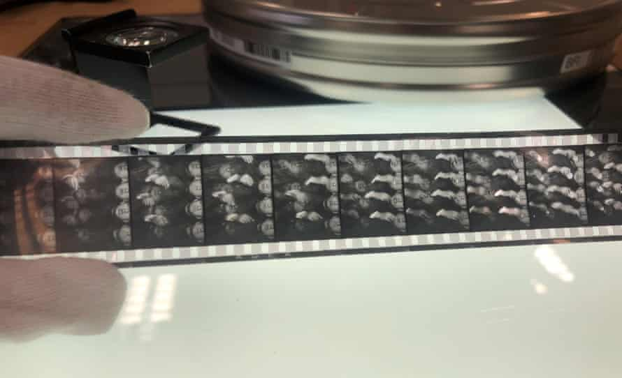 Hand holds Europa's original 35mm nitrate