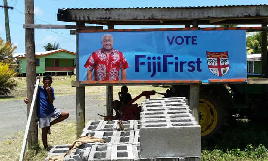 A poster for Frank Bainimarama's FijiFirst party in Nausori village.