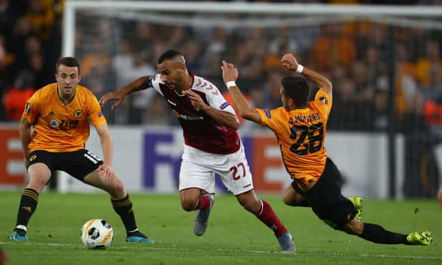 Wolves' Joao Moutinho (right) cannot stop Fransergio going past him in Braga's win in the Europa League at Molineux.