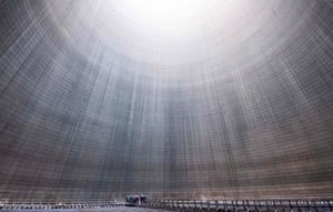 Hohenhameln, GermanyA group visiting the inside of a cooling tower at Mehrum coal-fired power plant