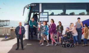 Toby Jones, far left, in Don't Forget the Driver for BBC Two.