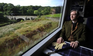 Fergus John McCann, dressed as former Borders resident Sir Walter Scott, the Scottish novelist, poet and playwright, at Tweedbank station.
