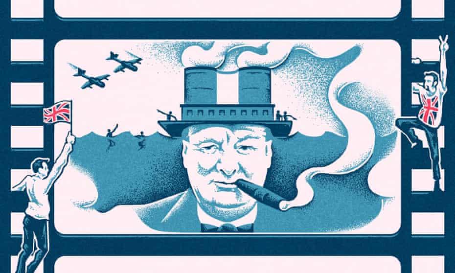 Illustration, of union jack waving Brits cheering on cinematic Churchill, by Matt Kenyon