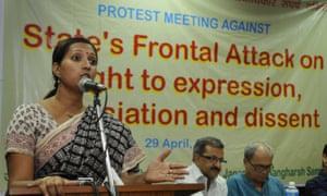 Greenpeace activist Priya Pillai addressing a protest meeting in Delhi