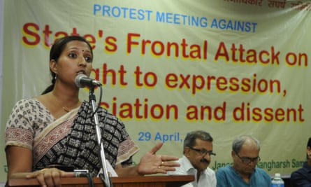 Greenpeace activist Priya Pillai addressing a protest meeting in Delhi