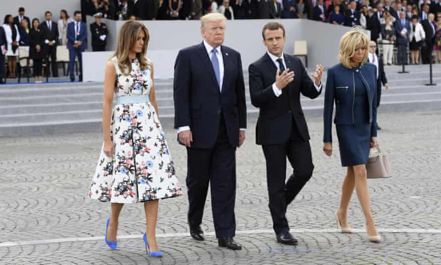 Donald Trump and his wife Melania attended Bastille Day celebrations in Paris with Emmanuel Macron and his wife Brigitte.