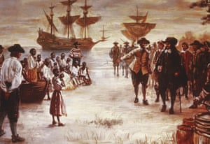 An engraving shows the arrival of a Dutch slave ship with a group of African slaves for sale at Jamestown, Virginia, 1619.