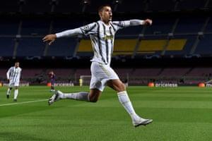 Ronaldo celebrates after scoring Juventus' third.