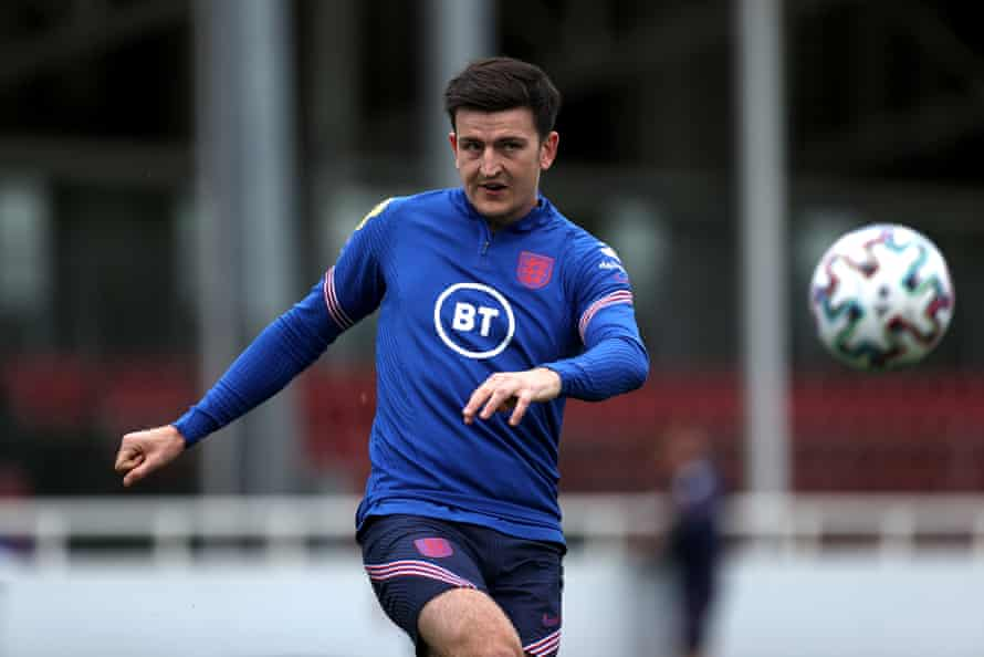 Harry Maguire in training on Thursday.