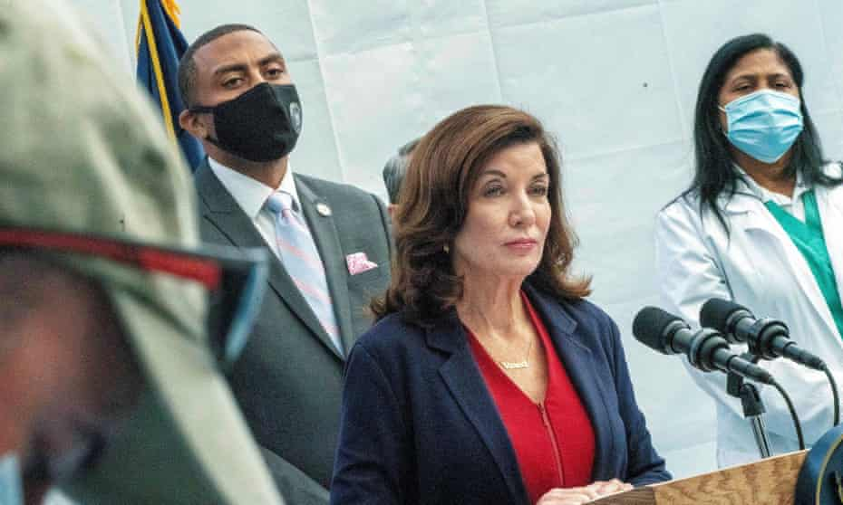 New York state governor Kathy Hochul. Hochul said vaccine compliance among nursing home workers increased from 70% to 92% when the mandate went into effect Monday.