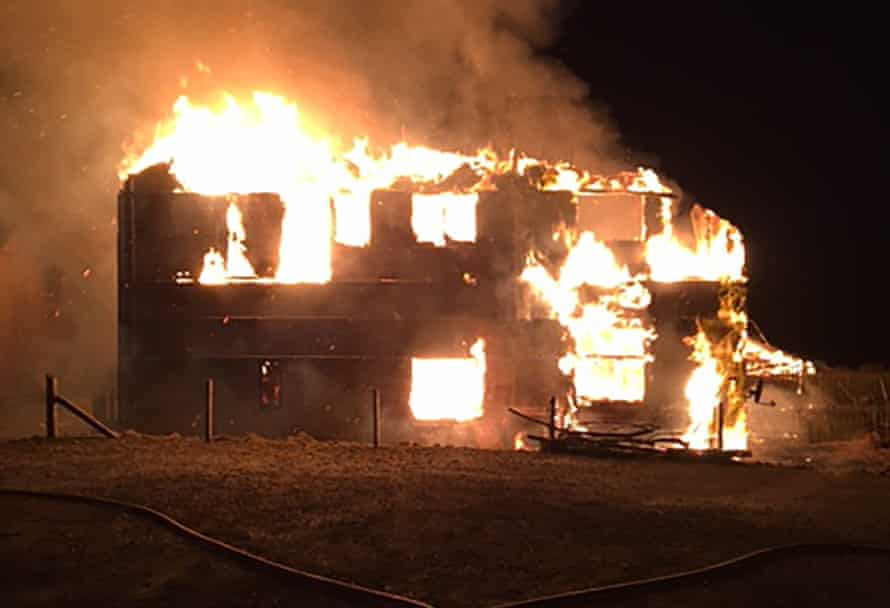 The observatory's wooden lodge, which opened to the public in 2011, was destroyed by fire on Sunday.
