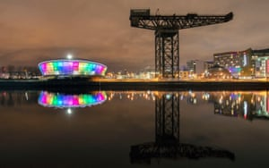 The SSE Hydro arena on the banks of the Clyde is illuminated in the rainbow colours of the Pride flag for LGBT History month