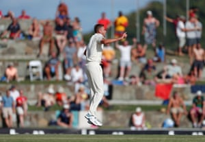 Stuart Broad celebrates taking the wicket of Shane Dowrich.