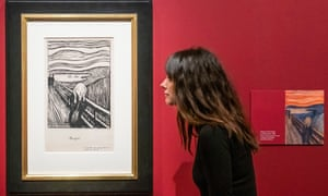 The Scream by Edvard Munch, currently on display in a British Museum exhibition.
