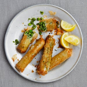 Yotam Ottolenghi's spinach, pea and broad bean filo cigars.