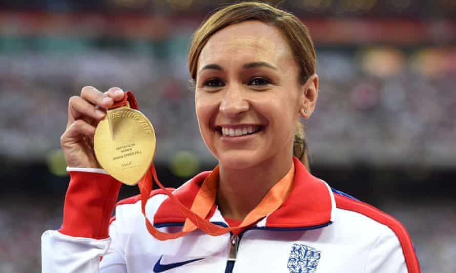 Jessica Ennis-Hill shows off her heptathlon gold medal in Beijing