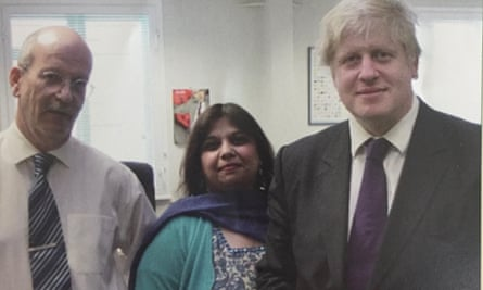 Mark Ormiston, managing director of Ormiston Wire, general manager Chitra Puri and Boris Johnson campaigning for London mayor