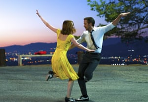 "Ryan Gosling, right, and Emma Stone in a scene from, ""La La Land"" shot at Cathy's Corner in Griffith Park."