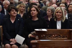 Left to right, Arlene Foster, leader of the Democratic Unionist party, Mary Lou McDonald, leader of Sinn Féin, and Michelle O'Neill, vice-president of Sinn Féin.