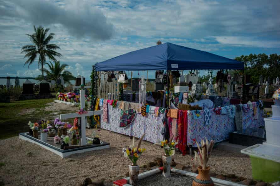 A gravesite is decorated in preparation for a Tombstone Revealing ceremony on Badu Island in the Torres Strait. Tombstone Reveal ceremonies are important cutural practices for Torres Strait communities and are the final celebration for the life of a deceased community member. The ceremonies are joyous occasions with families travelling from all over the country to attend. Picture by Kenton/Davey (Oculi).