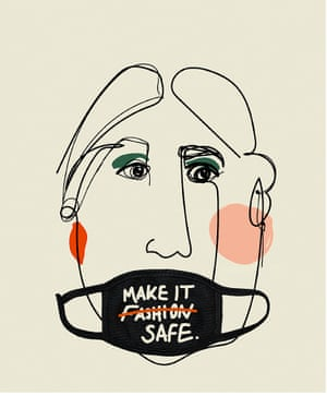 Illustration by University of South Wales fashion promotion student Kitty Tindall of a head wearing a face mask that did read Make It Fashion, but has the word Fashion crossed out and replaced with the word Safe