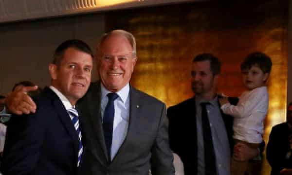 Mike Baird and his father Bruce Baird at the Liberal campaign launch in February.