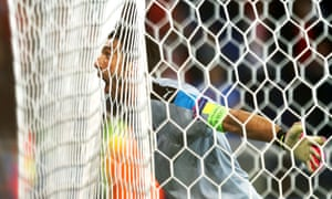 Gianluigi Buffon celebrates at the end of the match.